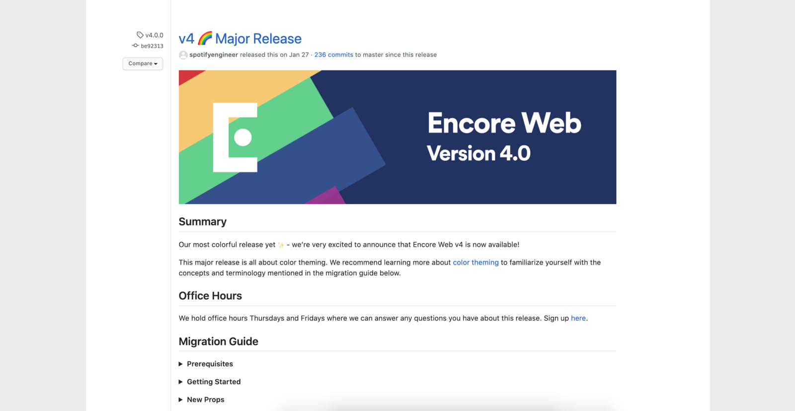 Version release notes in GitHub