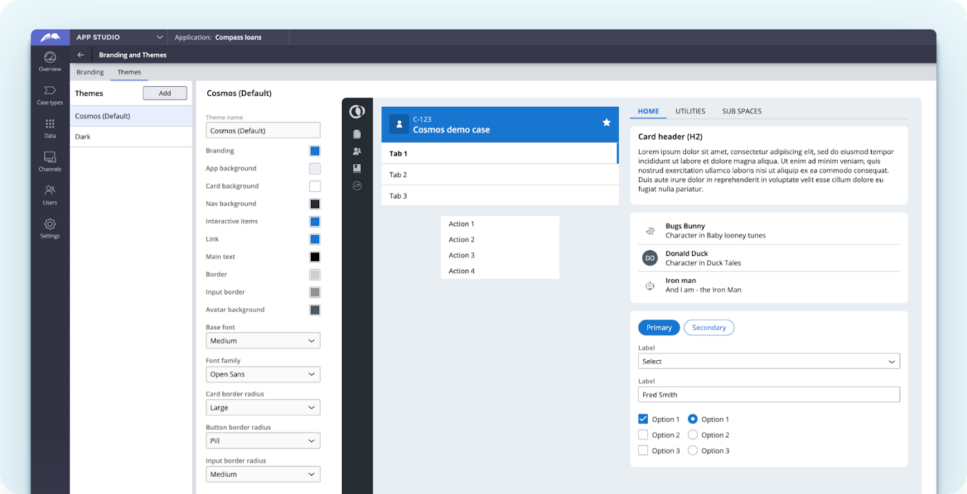 Pega App Studio showing off simplified theme styling, allowing Pega Cosmos Design system to be simply customized.