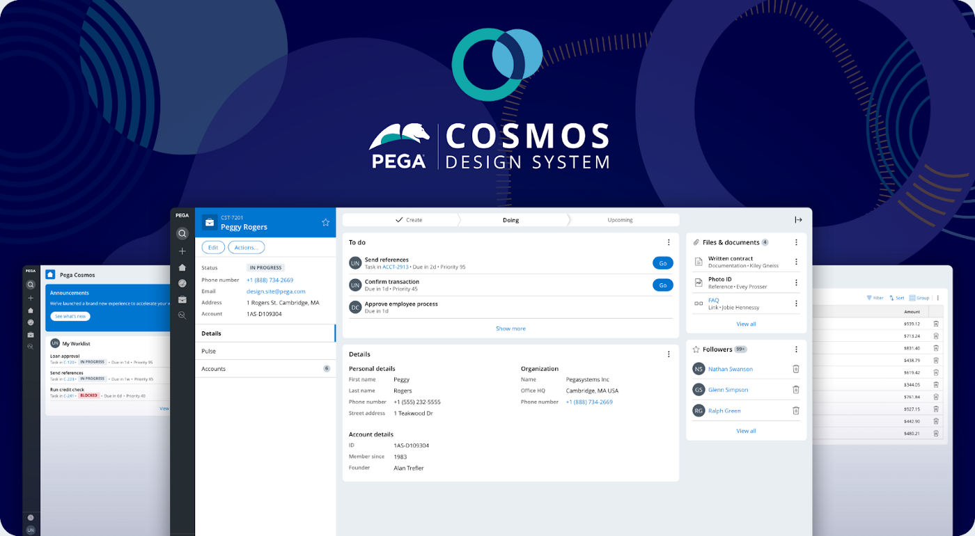 Pega Cosmos Design system branding showing three different page templates; the case interaction, home page example, and a list page template.