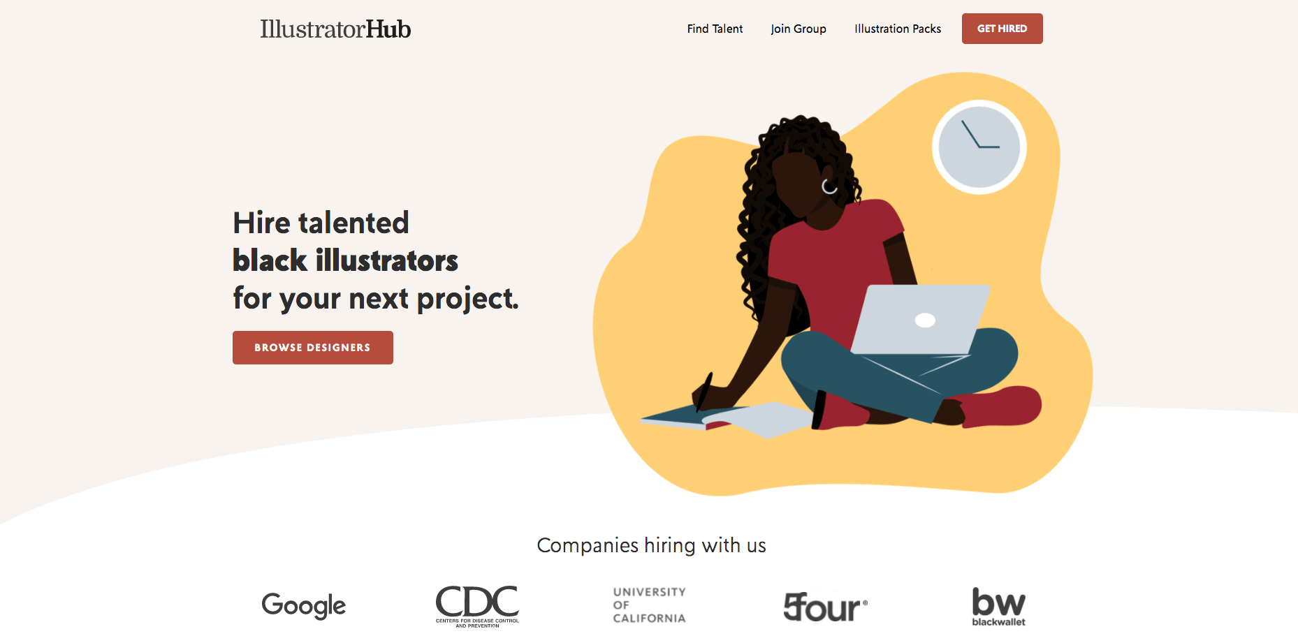 Illustrator Hub cover image with an illustration of a black woman on her computer working