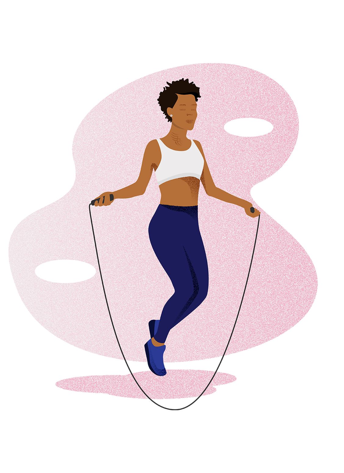 A black woman jump roping