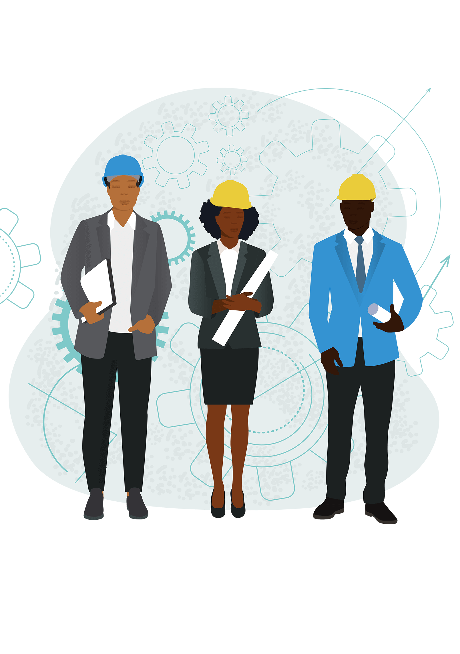 Black engineers illustration of two men and women in construction hats