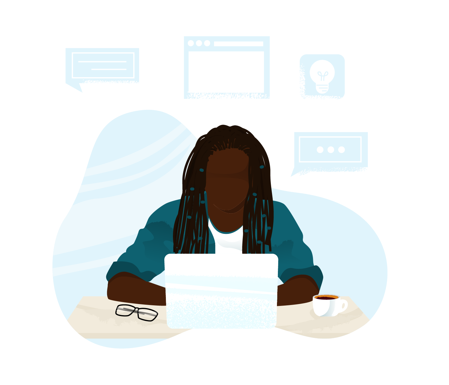 An illustration of a black woman with braids looking at a laptop