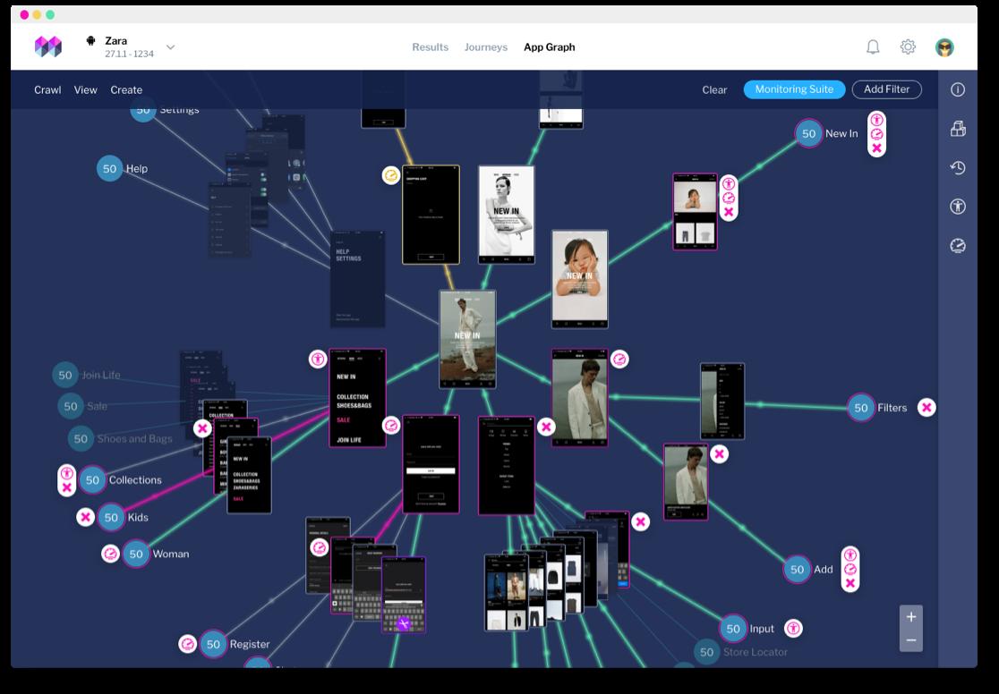 screenshot of mesmer ax monitoring interface