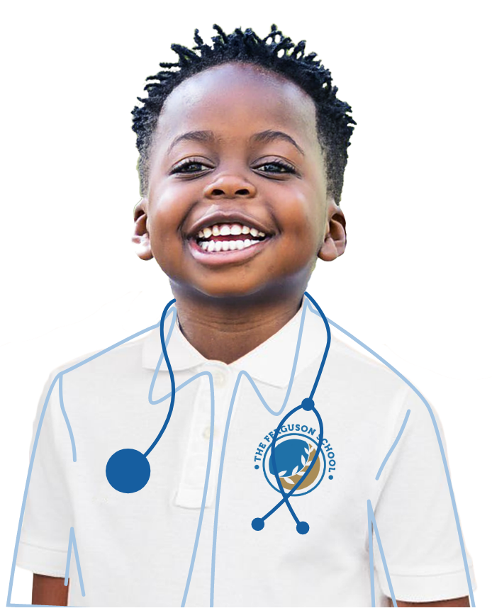 A black boy wearing a school polo and stethoscope and smiling