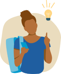 A student with an idea icon