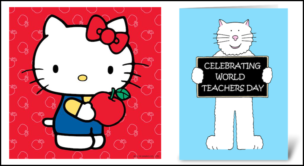 Hello Kitty and a generic white cat on greeting cards.