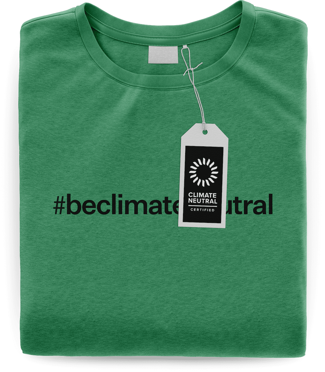 "Mockup of a folder t-shirt that reads ""#beclimateneutral"" and shows the certified label."
