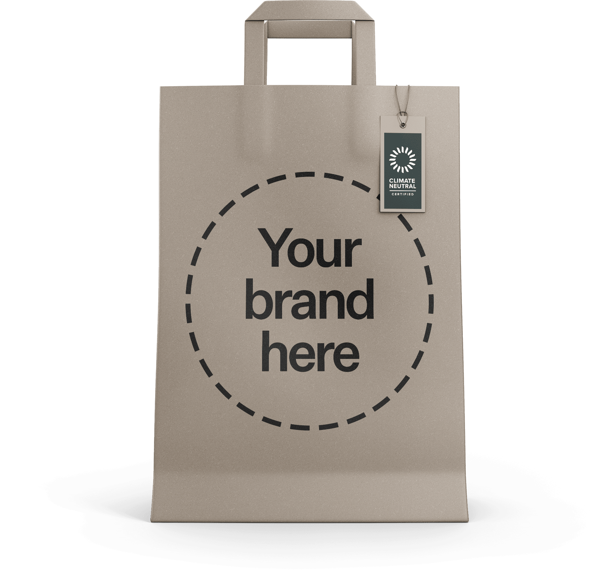 "Mockup of a paper bag with the climate neutral certified label and a message reading ""Your brand here""."
