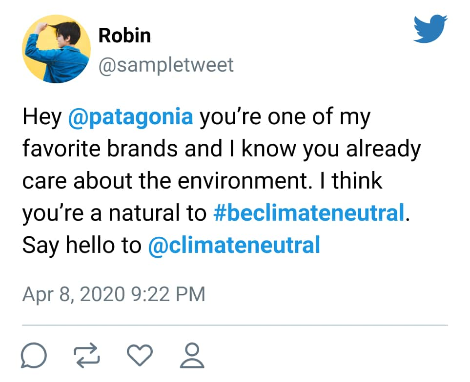 Mockup of a tweet that invites a brand to #beclimateneutral.