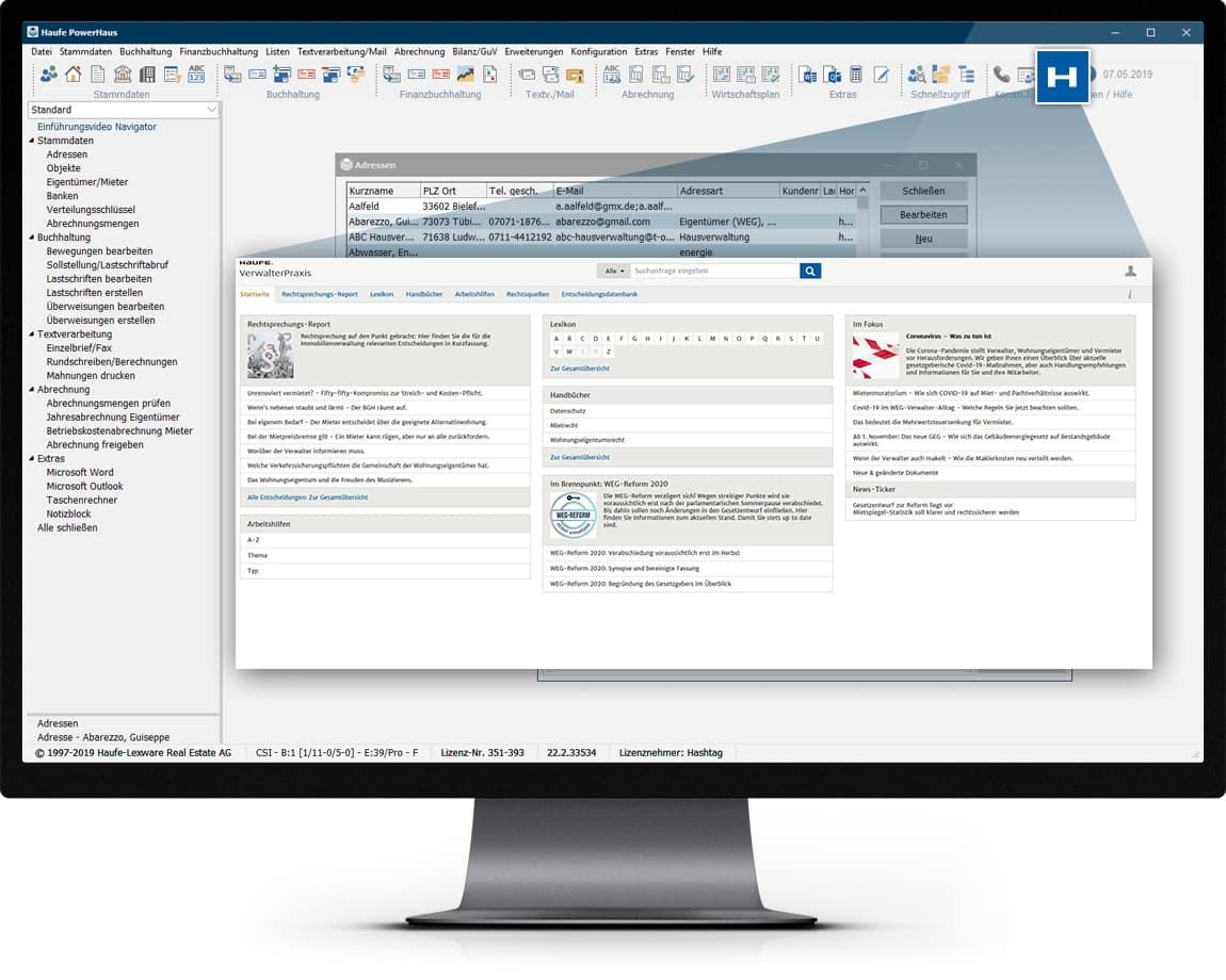 Monitor mit Abbildung Haufe Powerhaus zum Wissensmanagement