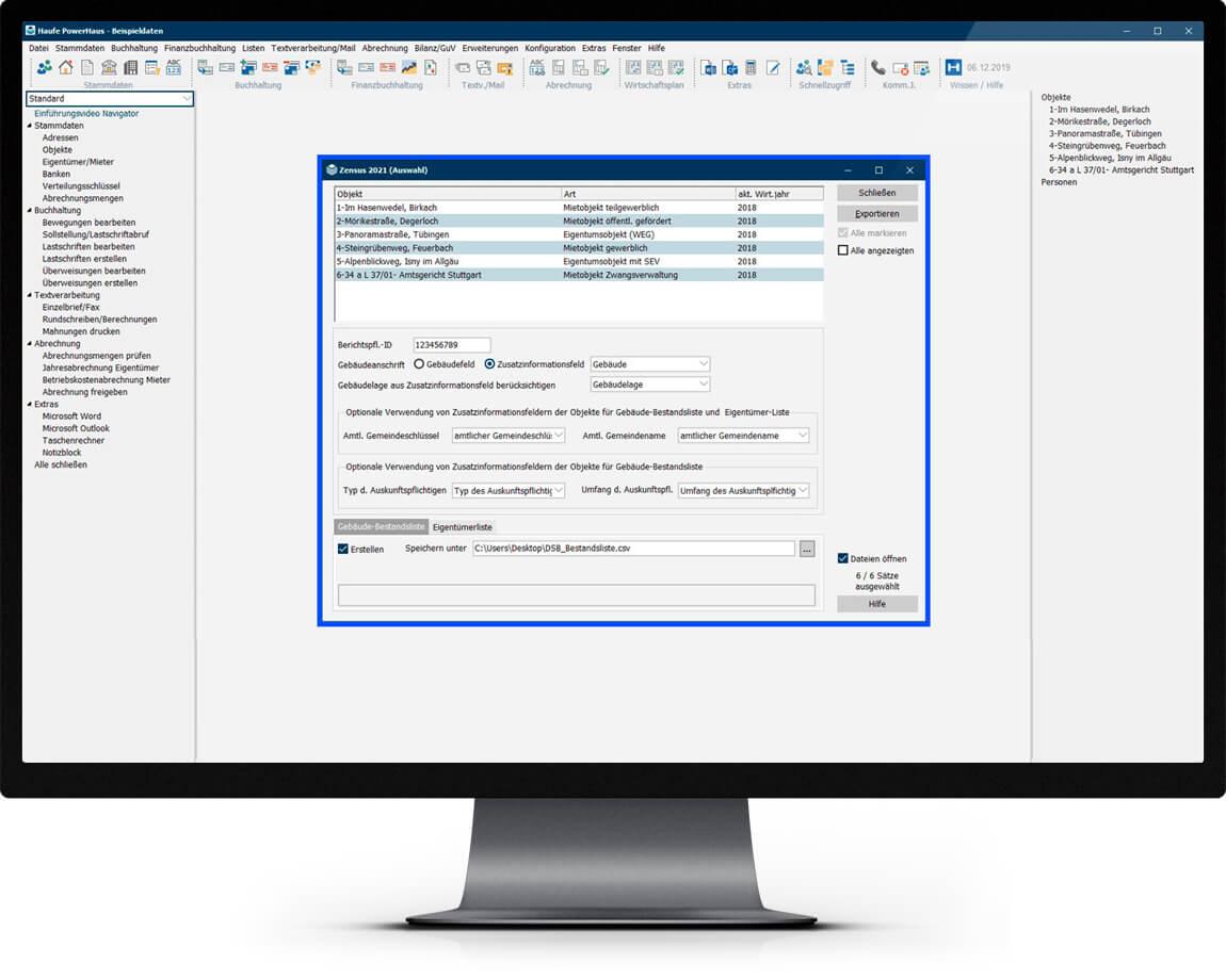 Bildschirm mit Abbildung des Zensusmoduls der Immobilienverwaltungssoftware Haufe Powerhaus
