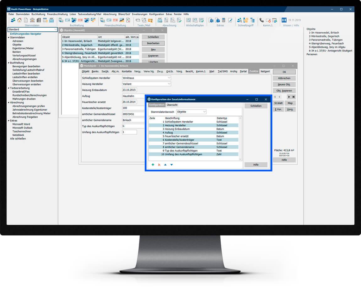 Bildschirm mit Oberfläche des Zensusmoduls zur Datenpflege von Haufe Powerhaus