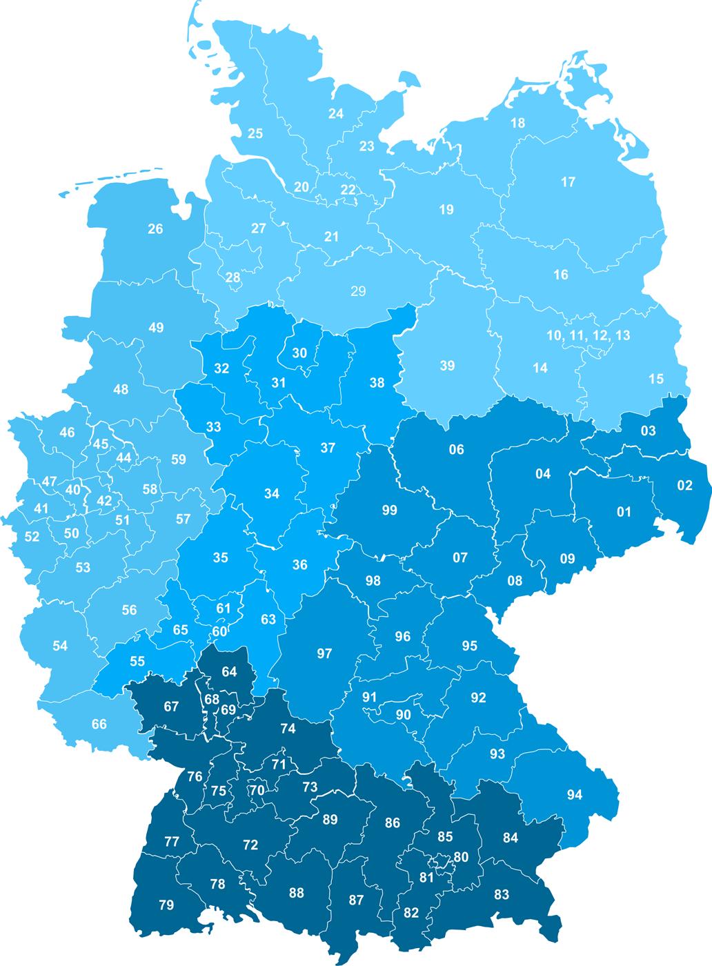 blaue Grafik von Deutschland mit den einzelnen Postleitzahlen