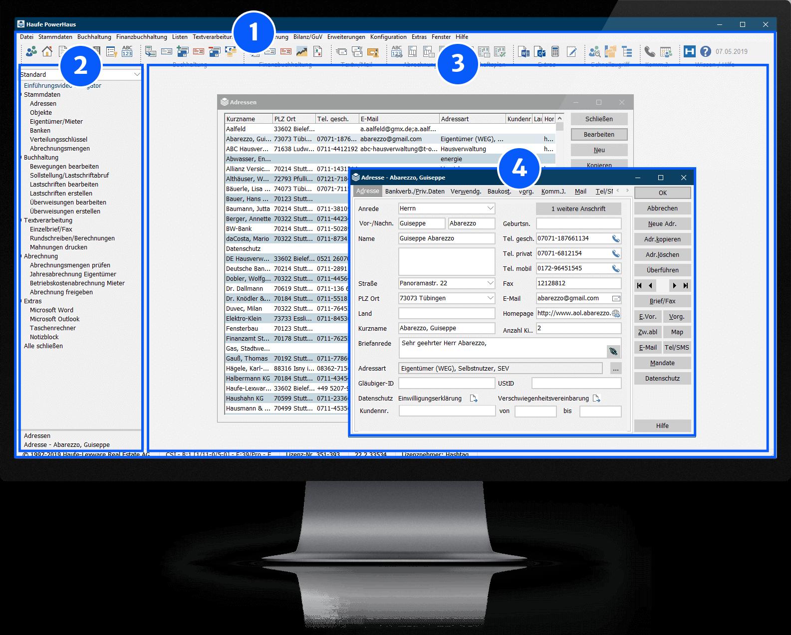 Nutzeroberfläche Software Haufe Powerhaus auf Bildschirm