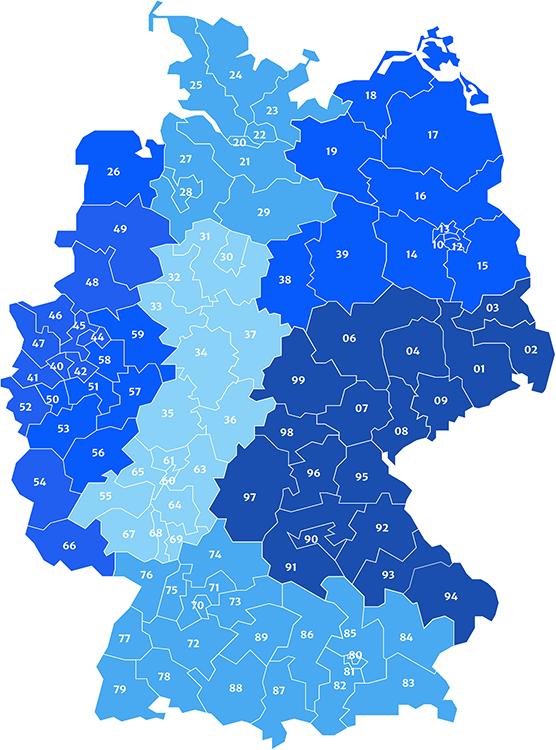 blaue Grafik von Deutschland mit den einzelnen Postleitzahlen für die Vertriebsübersicht