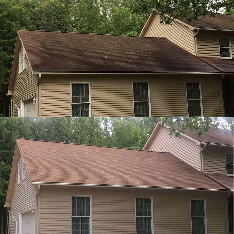Before and after roof cleaning project