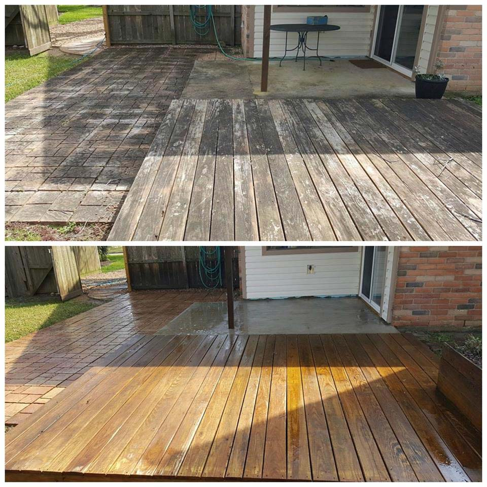 Deck cleaning before and after project