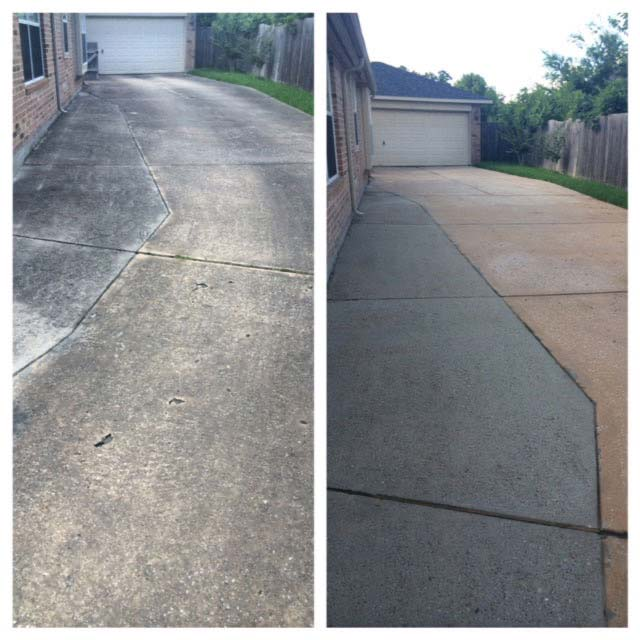 Driveway cleaning before and after in Fayetteville, AR