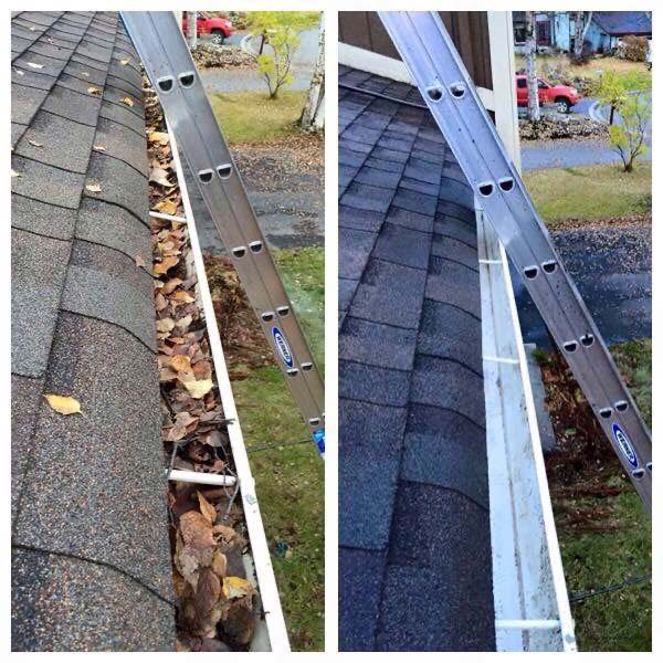 Gutter cleaning before and after in Fayetteville