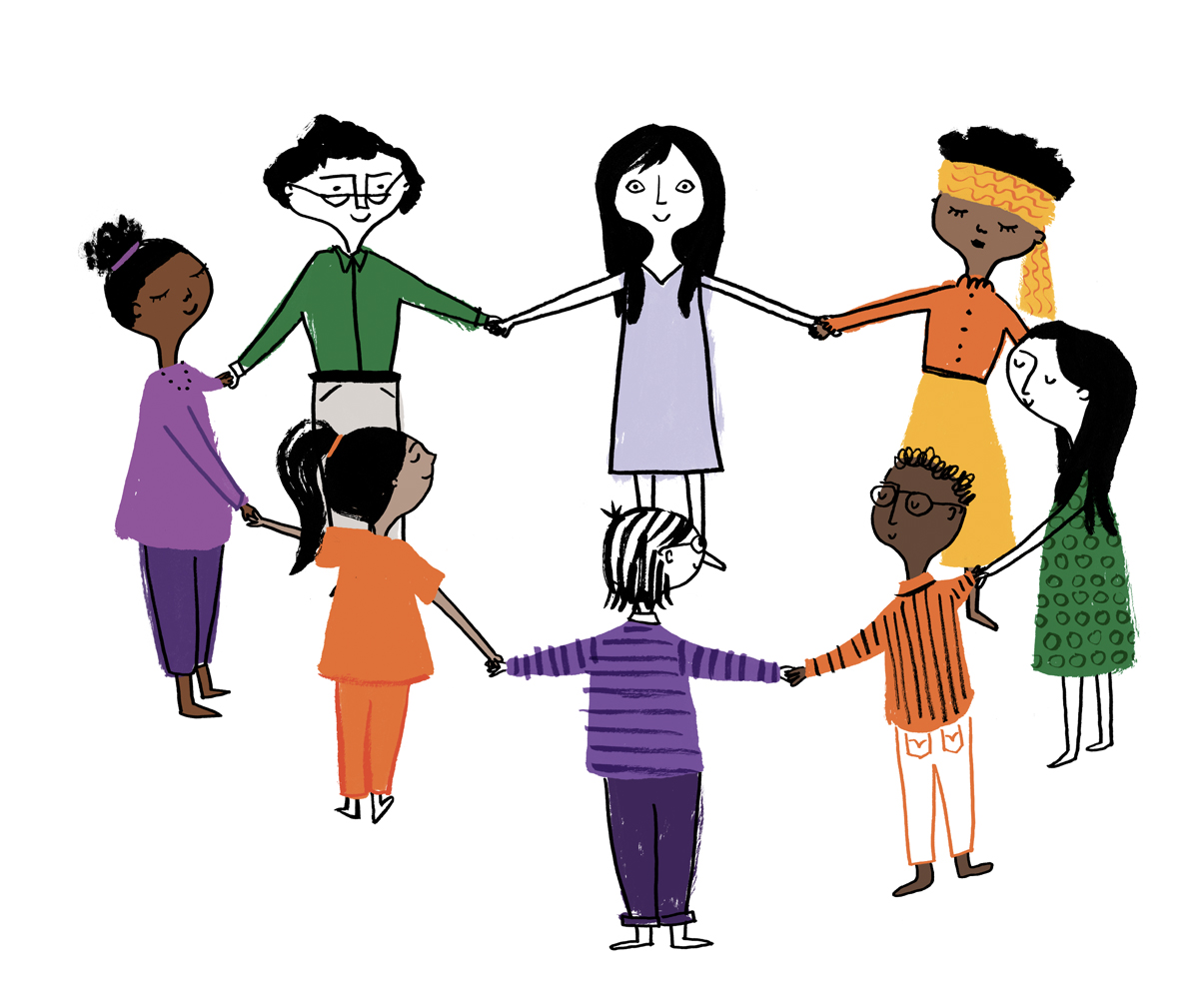 Illustration of a group of people of different backgrounds, holding hands contentedly