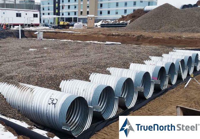 true north steel culverts lined up on construction site