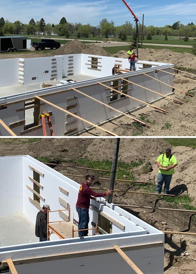 crew installing FOX blocks on new home