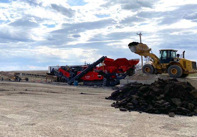 loader at crushing site
