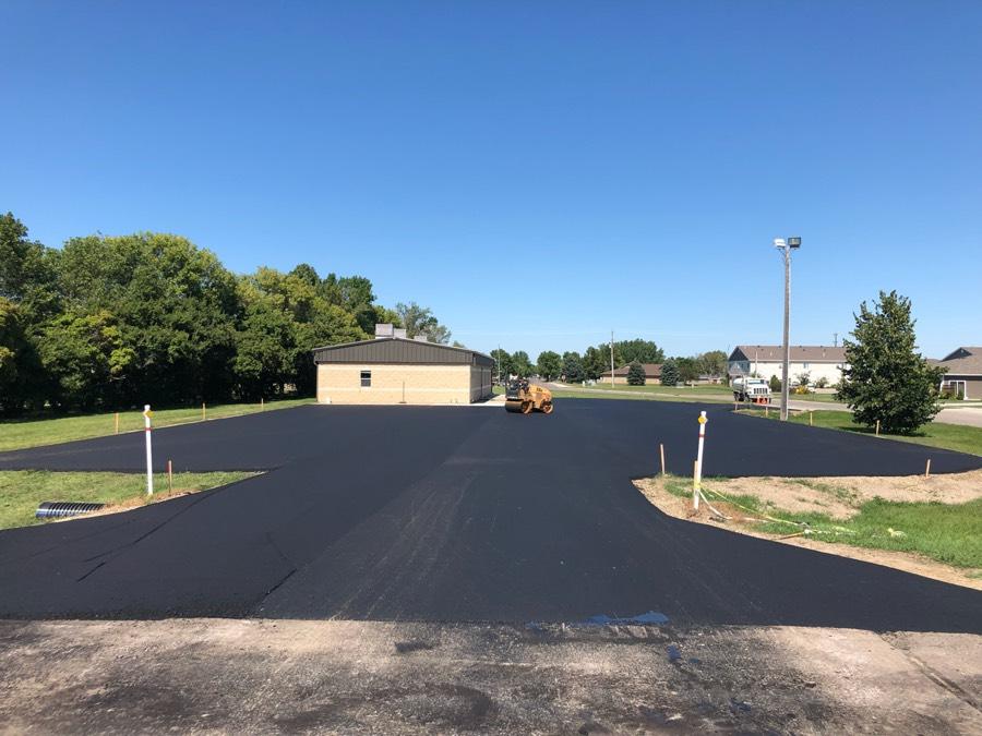 new asphalt parking lot