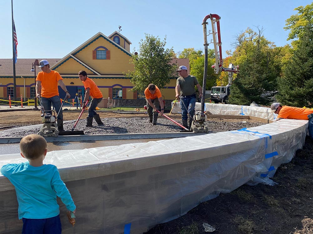 Jensen crew pouring concrete at Storybook Land in Aberdeen, SD