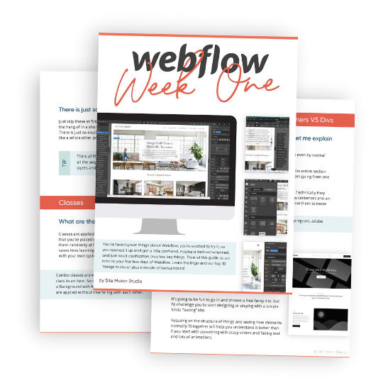 Mockup for Free Webflow Getting Started PDF Guide with tips and tricks for learning webflow