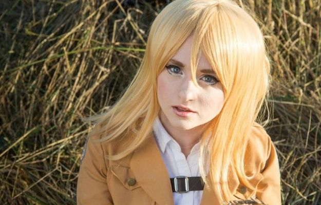 Pretty blond lKainl cosplaying Christa Renz | We Love This Super Realistic Attack on Titan Cosplay