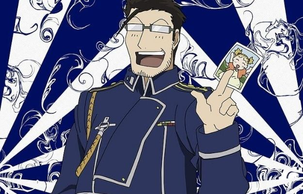 Laughing Maes Hughes with his daughter pic in had | Guess the Age of These Anime Characters