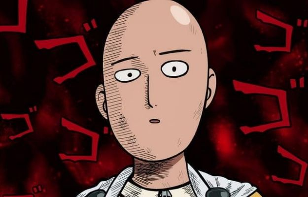 Saitama on a funny red and black background | Guess the Age of These Anime Characters