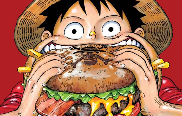 Luffy eating a gigantic Hamburger | 8 Anime Snacks To Eat When Binging Your Favorite Anime
