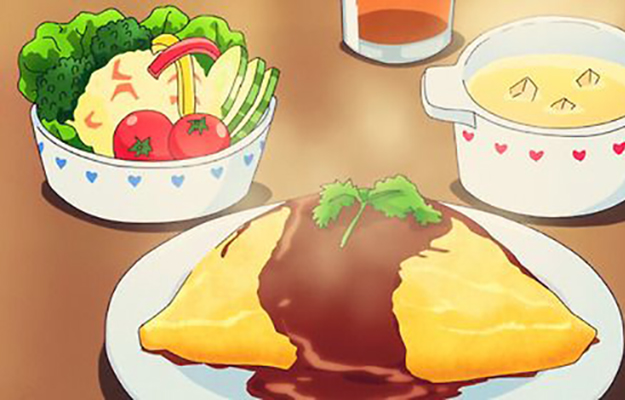 Plate of hot delicious Omurice next to a bowl of salad | 8 Anime Snacks To Eat When Binging Your Favorite Anime