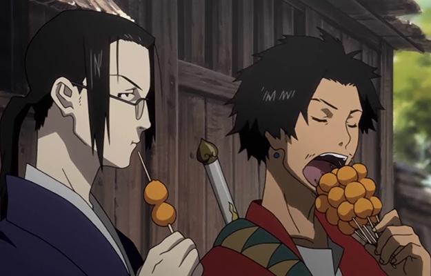 2 Japanese anime swordsmen eating Yaki Dango | 8 Anime Snacks To Eat When Binging Your Favorite Anime