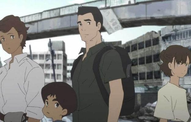 4 character standing together with the broken bridge behind | The Plot | Is Japan Sinks 2020 On Netflix Worth The Hype?