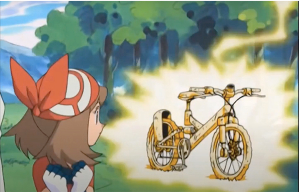 May looking at her bike which was shot by electric sparks | She ended the long-running bike gag | Iris Facts You Probably Didn't Know