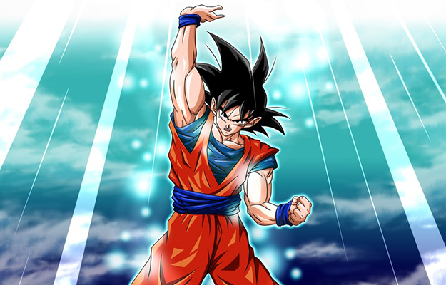 Brave Goku raising his hand with sky background | Never Give Up | 6 Life Lessons Goku Taught Us