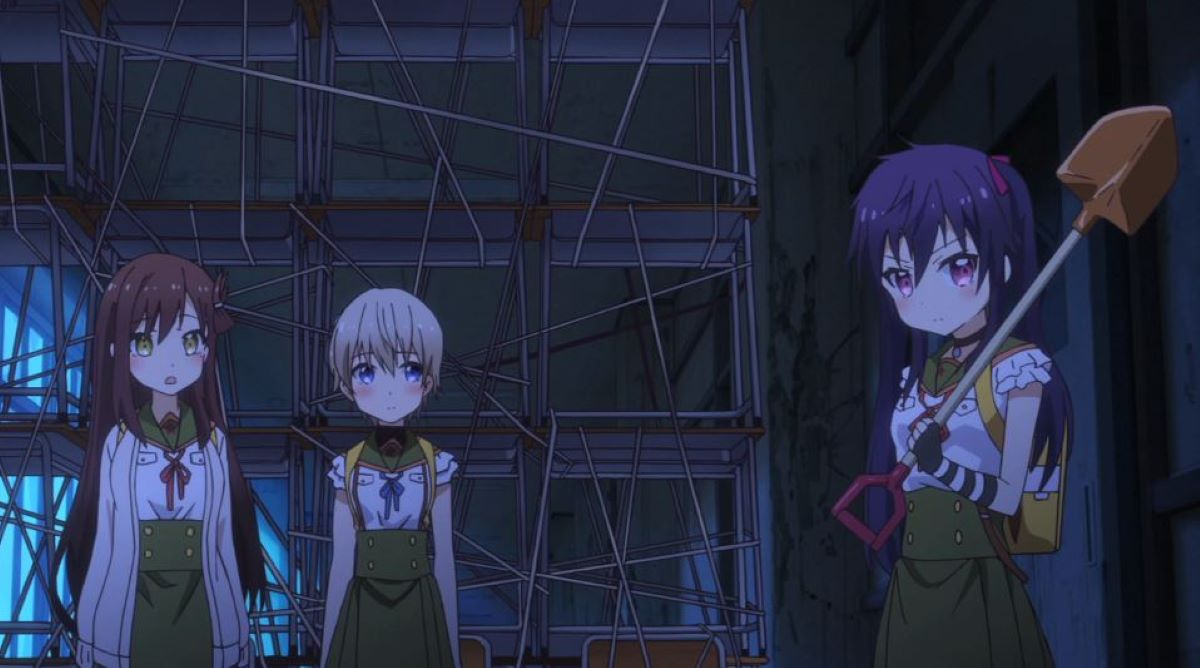 The girls stand in front of their barricade, one holding a shovel | School-Live! | Anime Perfect for Halloween