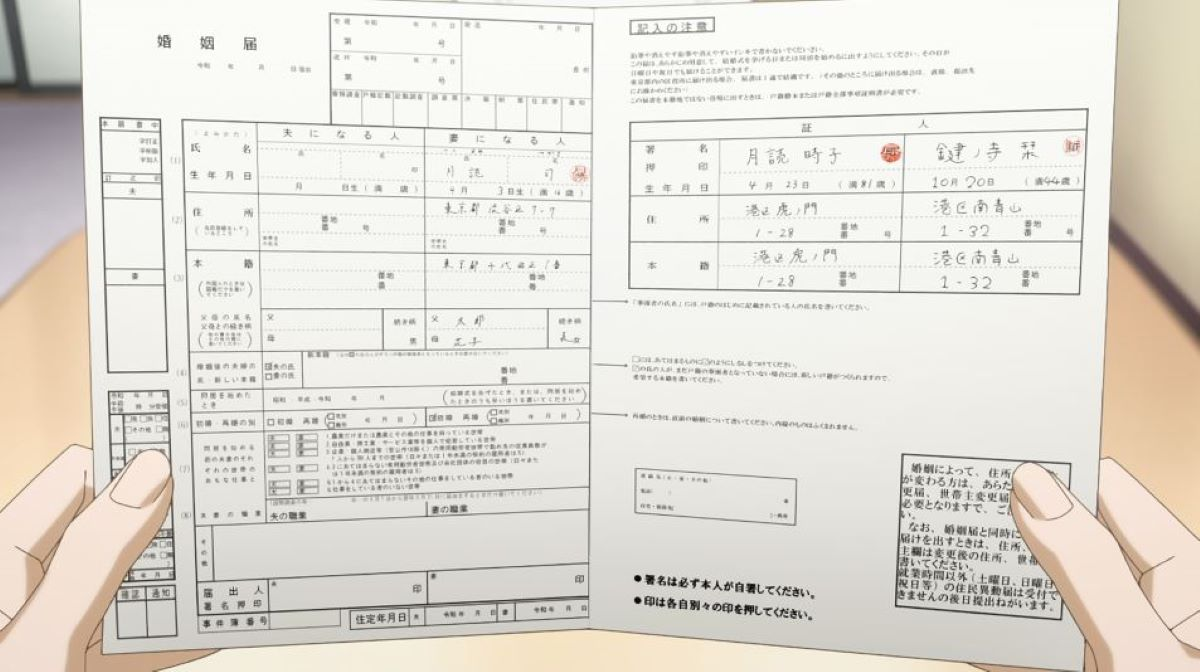 A marriage registration form with seals | Marriage Registration | Weddings in Japan