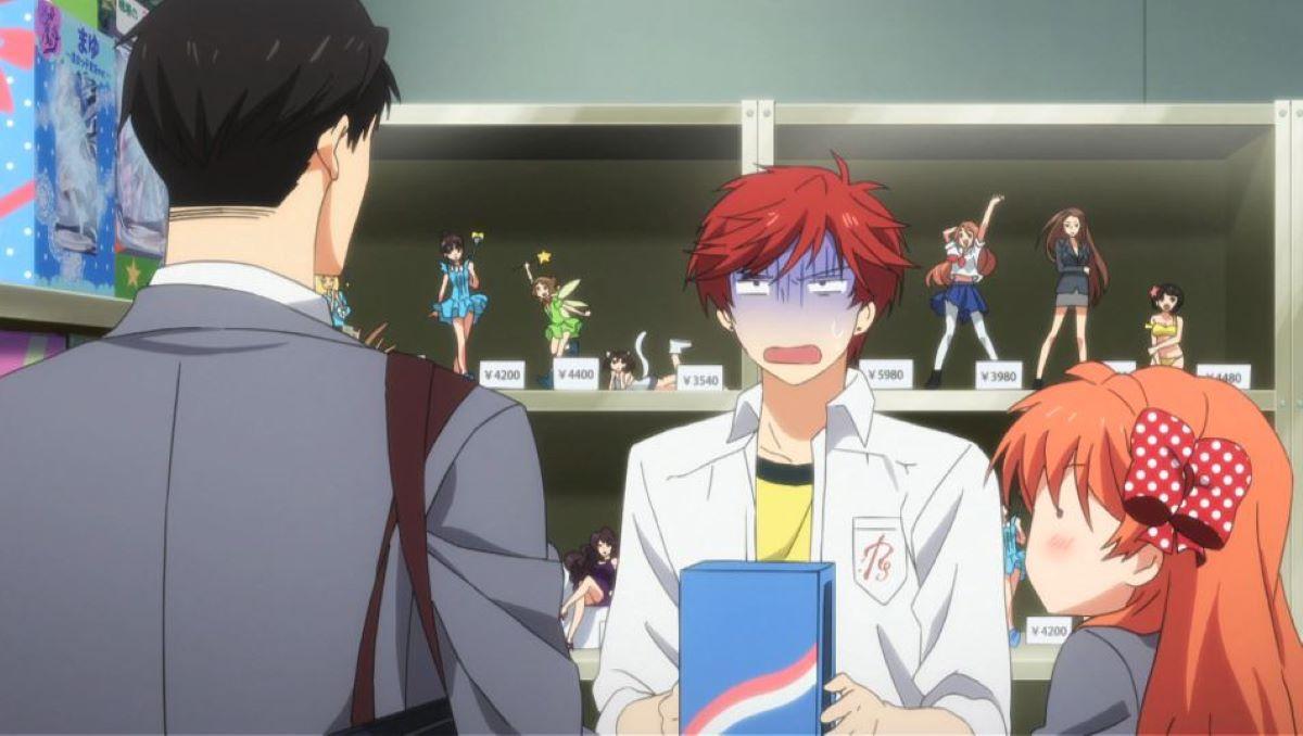Mikoshiba caught buying bishoujo figures by Nozaki and Sakura | Monthly Girls' Nozaki-kun | Otakus in Anime