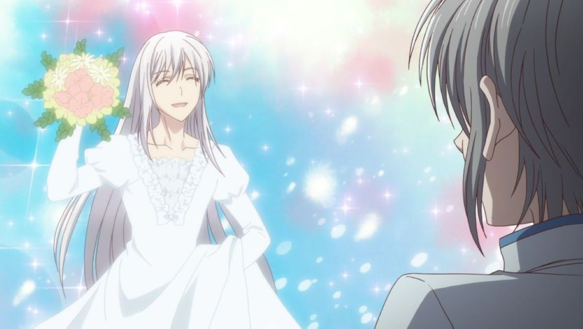 Ayame with his long hair, wearing a wedding dress | Long-Haired Boy | A Guide to Anime Hair