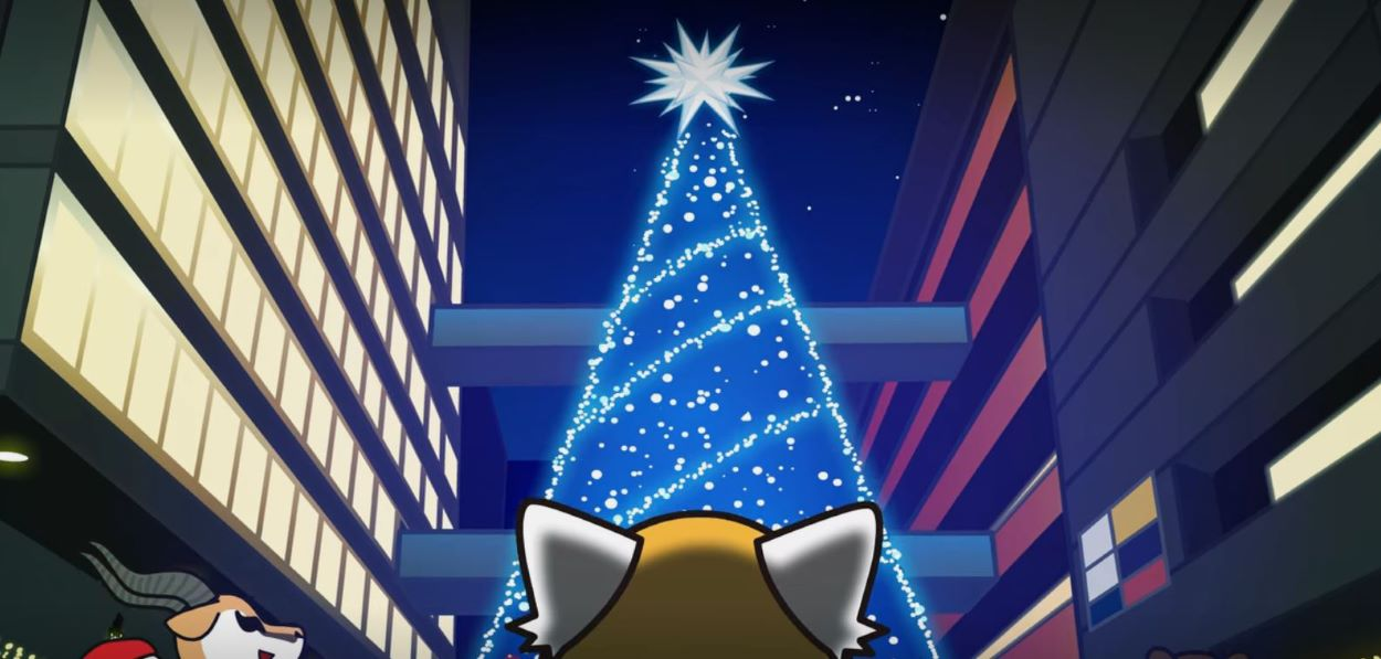 Retsuko mournfully looking up at the Christmas tree | Aggretsuko - We Wish you a Merry Christmas | Christmas Episode Recommendations