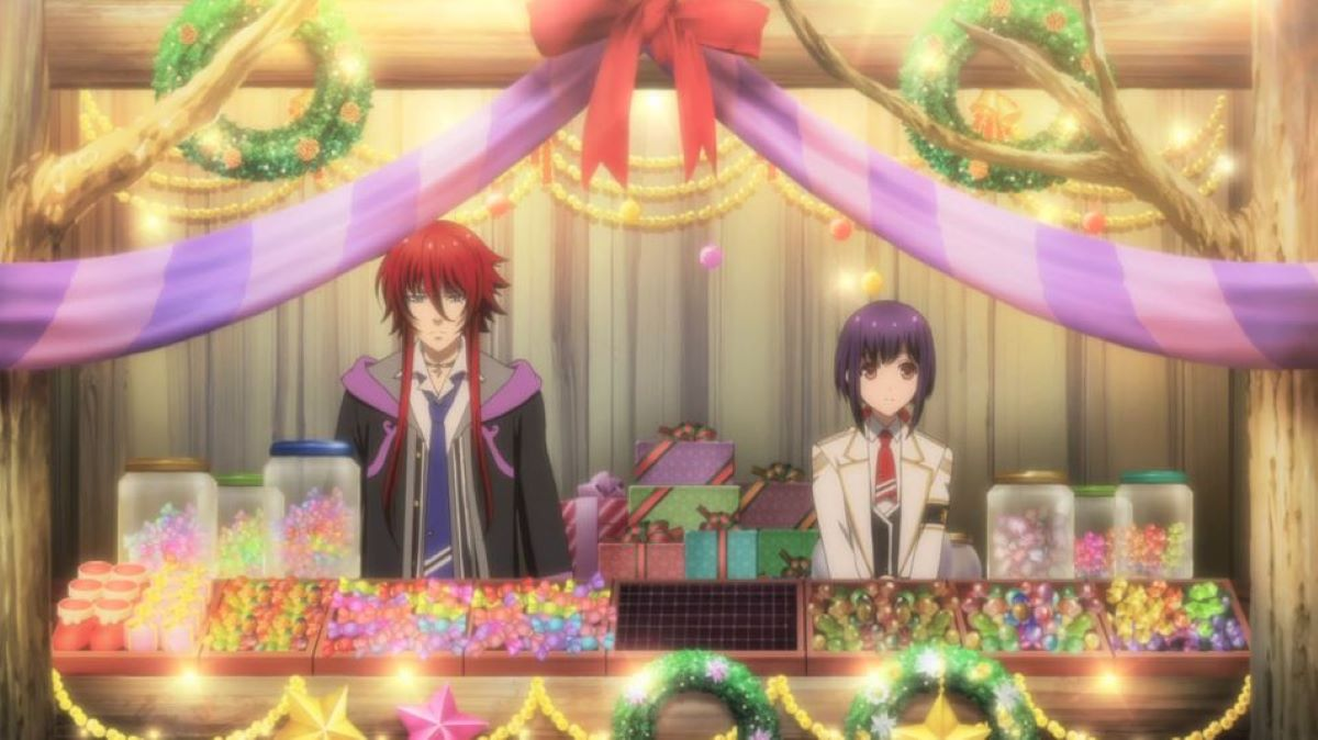 Loki and Yui mind the Christmas market stall   Kamigami no Asobi - Episode 8   Christmas Episode Recommendations