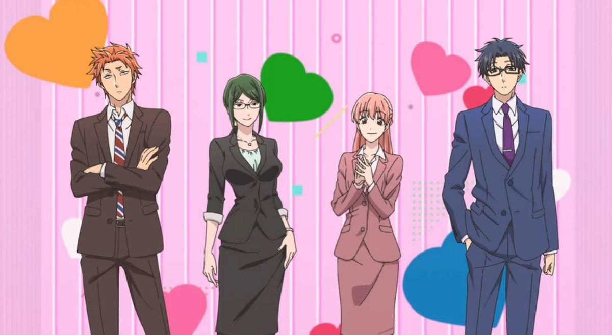 The gang walking into work | Wotakoi: Love is Hard for Otaku | Otakus in Anime