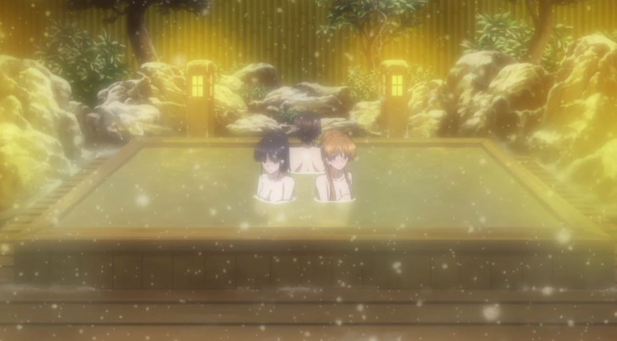 In the hot spring in the snow | Hot Springs | Winter Themes in Anime