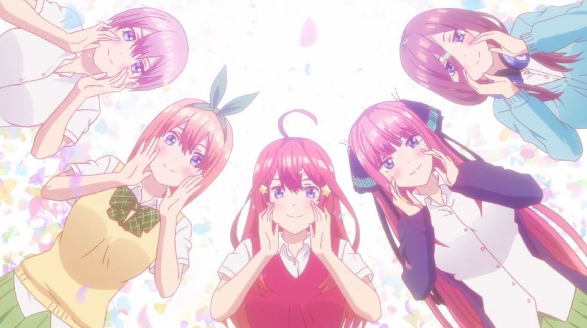 All the girls in their uniforms | A Harem with Siblings | Five Reasons Why The Quintessential Quintuplets is Just so Great