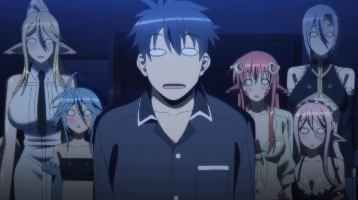 Kurusu and the monster girls, all equally blank | Blank Eyes | A Guide to Anime Expressions